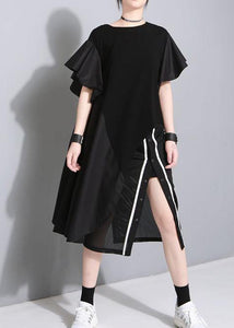 Modern black Cotton quilting dresses side open short patchwork summer Dresses