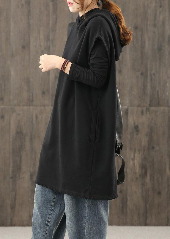 Modern black clothes hooded pockets silhouette tops