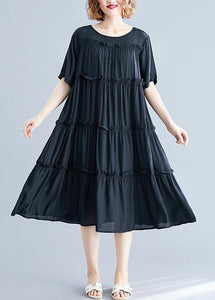 Modern black cotton Tunics o neck wrinkled Maxi summer Dress