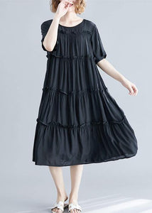 Modern black cotton Tunics o neck Cinched Maxi summer Dress