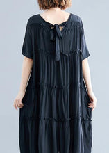 Load image into Gallery viewer, Modern black cotton Tunics o neck Cinched Maxi summer Dress