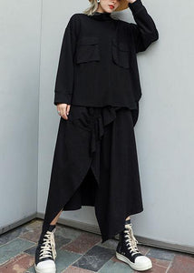 Modern black cotton linen asymmetric Ruffles fall skirt