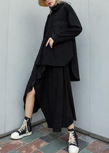 Load image into Gallery viewer, Modern black cotton linen asymmetric Ruffles fall skirt