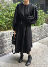 Load image into Gallery viewer, Modern black cotton quilting clothes o neck Batwing Sleeve Kaftan spring Dresses