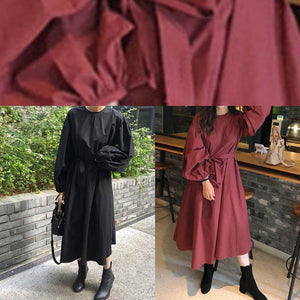 Modern black cotton quilting clothes o neck Batwing Sleeve Kaftan spring Dresses
