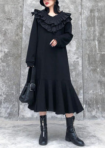 Modern black cotton quilting dresses Ruffled patchwork Maxi Dress