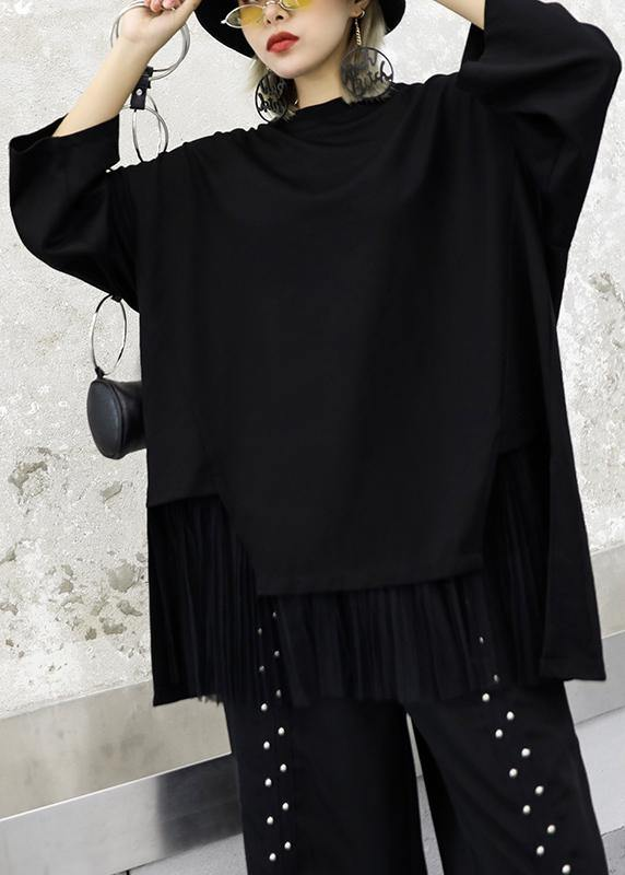 Modern black cotton tunic top asymmetric patchwork hem Knee autumn top