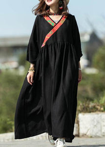Modern black silk linen Long dress v neck patchwork Maxi summer Dress