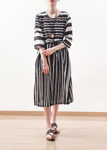 Modern black white striped linen clothes For tie waist cotton summer Dress