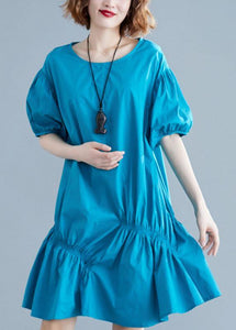Modern blue Cotton Tunic o neck lantern sleeve oversized Dresses