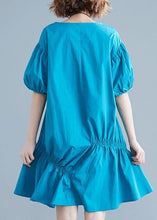 Load image into Gallery viewer, Modern blue Cotton Tunic o neck lantern sleeve oversized Dresses