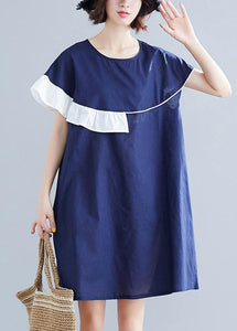 Modern blue Cotton Wardrobes o neck patchwork summer Dress