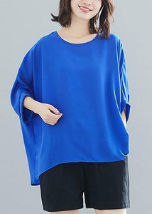 Modern blue chiffon o neck Batwing Sleeve Love Summer tops