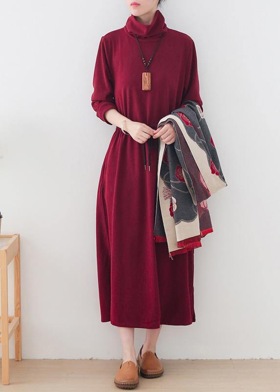 Modern burgundy quilting clothes high neck drawstring robes Dresses