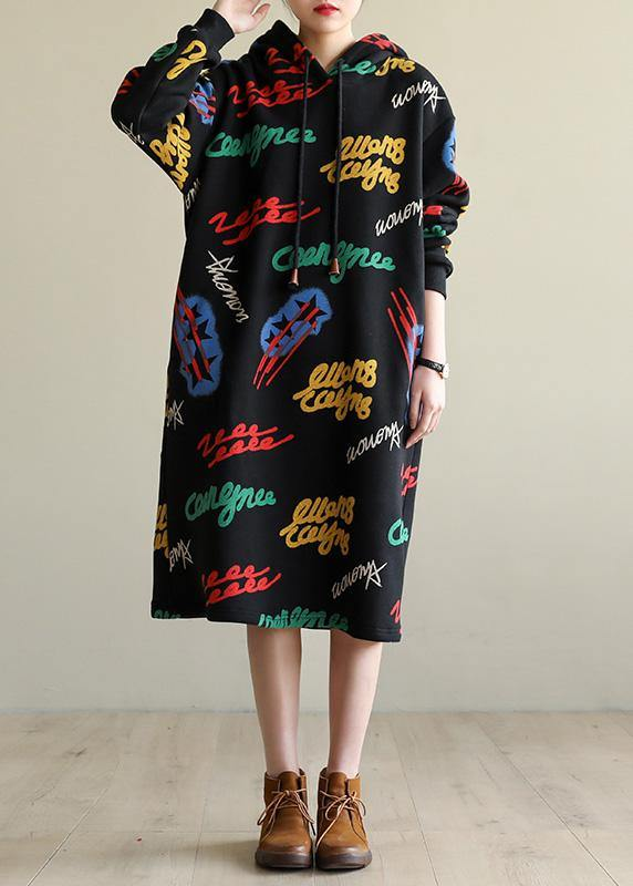 Modern casual cotton hooded Tunics Shirts black print Art Dresses
