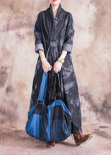 Load image into Gallery viewer, Modern denim black cotton dress v neck patchwork loose fall Dress