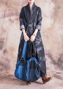 Modern denim black cotton dress v neck patchwork loose fall Dress