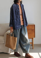Load image into Gallery viewer, Modern denim blue pants oversize wide leg pants cotton Fabrics casual pants