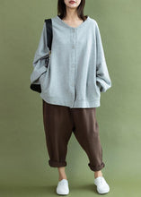 Load image into Gallery viewer, Modern gray cotton linen tops women lantern sleeve Button Down oversized fall shirts