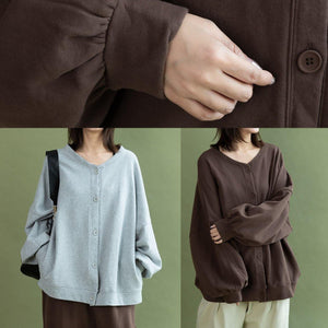 Modern gray cotton linen tops women lantern sleeve Button Down oversized fall shirts