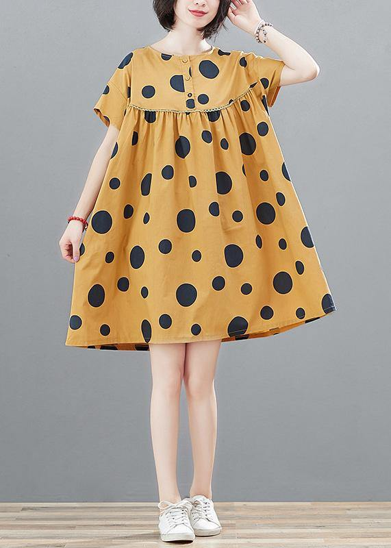 Modern high waist cotton summerclothes Fabrics yellow dotted tops
