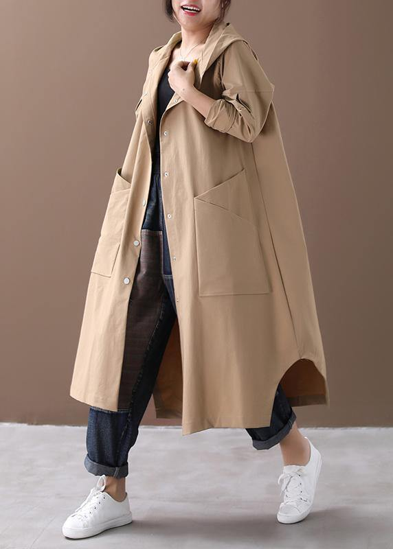 Modern hooded Large pockets fine clothes For Women khaki baggy coat