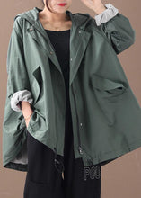 Load image into Gallery viewer, Modern hooded baggy Plus Size clothes For Women green silhouette winter outwear