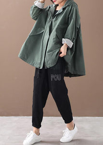 Modern hooded baggy Plus Size clothes For Women green silhouette winter outwear