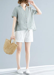 Modern hooded linen shirts women Fitted Sewing light green Vestidos De Lino top Summer