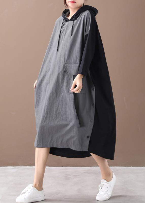 Modern hooded patchwork spring dress Work gray Maxi Dresses