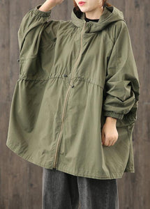 Modern hooded zippered clothes For Women Shape army green blouses