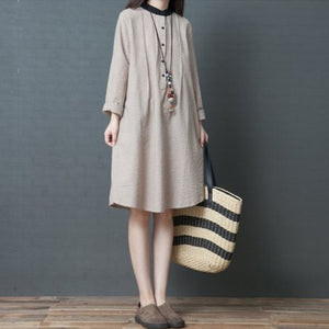 Modern khaki striped linen clothes stylish Sleeve stand collar loose spring Dress