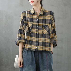 Modern lapel Button Down fall Tunic Tutorials yellow plaid blouse