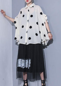 Modern lapel chiffon tops Women Life beige dotted Summer tops