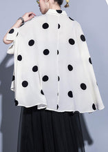 Load image into Gallery viewer, Modern lapel chiffon tops Women Life beige dotted Summer tops