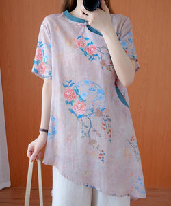 Modern light pink print top stand collar asymmetric Art tops