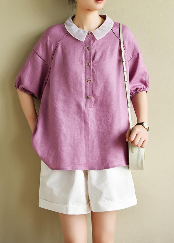 Modern light purple clothes For Women lapel half sleeve silhouette summer shirts