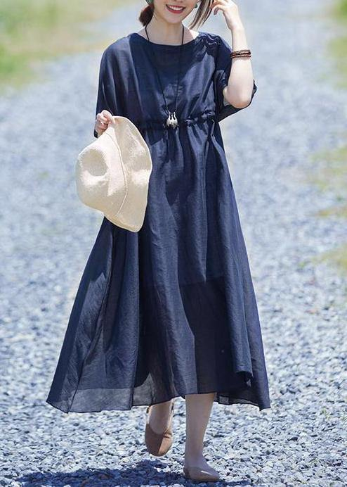 Modern linen clothes For Women boutique Drawstring Pure Color Casual Loose Maxi Dress