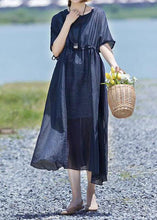 Load image into Gallery viewer, Modern linen clothes For Women boutique Drawstring Pure Color Casual Loose Maxi Dress