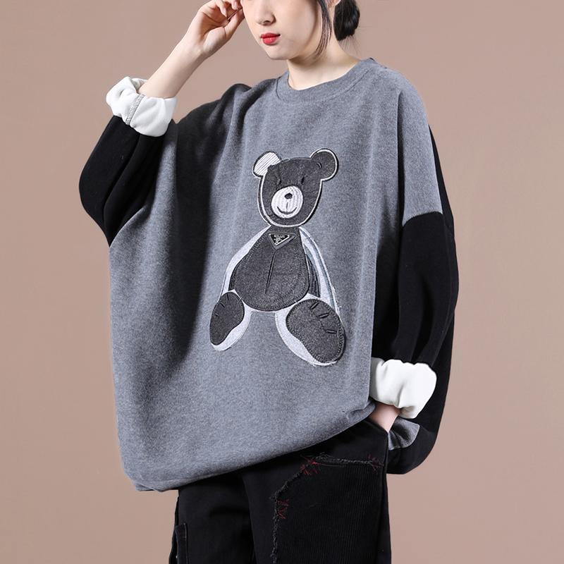 Modern o neck Bear design spring tops women gray tops