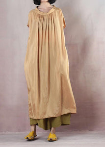 Modern o neck cotton summer clothes For Women Photography light yellow Maxi Dresses