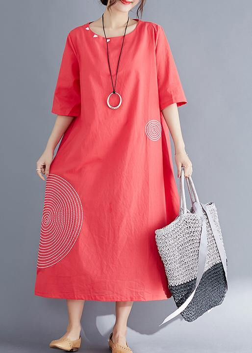 Modern o neck embroidery cotton tunic top Vintage Work Outfits red Maxi Dresses Summer