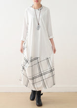 Load image into Gallery viewer, Modern o neck false two pieces cotton Wardrobes plus size Catwalk white cotton Dress spring