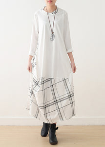 Modern o neck false two pieces cotton Wardrobes plus size Catwalk white cotton Dress spring