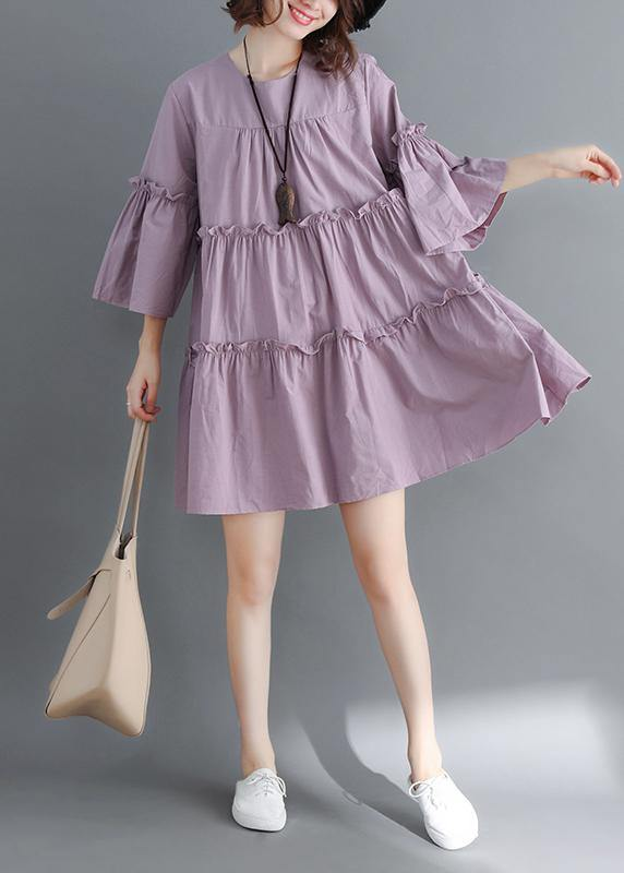 Modern o neck flare sleeve wrinkled Cotton Women Photography purple Dress summer
