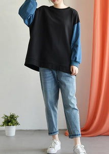 Modern o neck long sleeve cotton Shirts black patchwork blue blouse fall