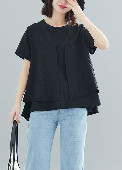 Modern o neck patchwork cotton clothes For Women Vintage design black loose blouses Summer