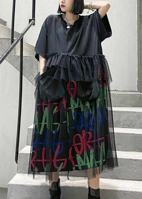 Modern o neck patchwork tulle cotton summer Tunics Inspiration black Maxi Dress