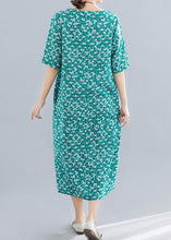 Load image into Gallery viewer, Modern o neck pockets linen cotton clothes Runway green print Dress summer