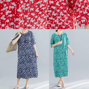 Modern o neck pockets linen cotton clothes Runway green print Dress summer